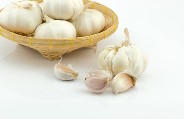cloves of garlic isolated on white background