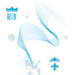 Light blue vector soft composition, 3d wavy decorative ribbon. A