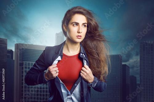 Leinwandbild Motiv Superhero Woman