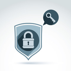 Padlock lock and key safety theme icon with a shield silhouette,