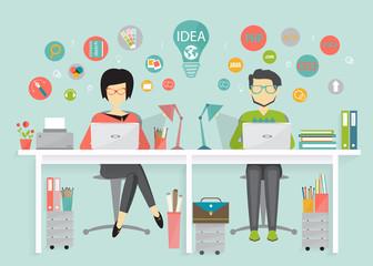 designer and programmer, work process, flat design style