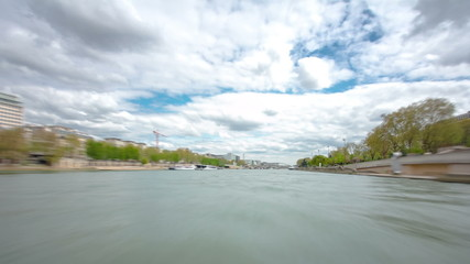 Paris. The excursion motor ship floats down the river Seine in