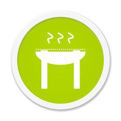 Button grün rund - Grill Symbol