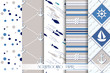 Set of sea and nautical patterns in white, beige and blue - 80976762
