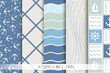 Set of blue and white sea patterns. Scrapbook design elements. - 80976935