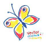 Childlike drawing of butterfly. poster