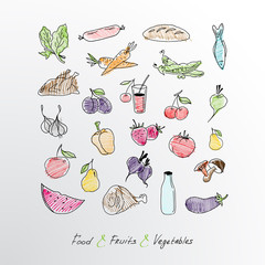 Collection of hand drawn food, fruits and vegetables.