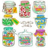 Set of colorful mason jars with greeting wishes