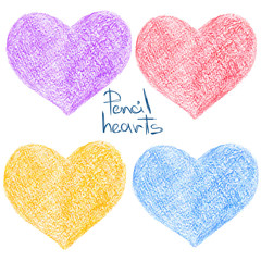 Set of colorful pencil drawing heart shapes