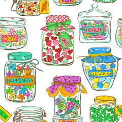 Seamless pattern of mason jars with greeting wishes