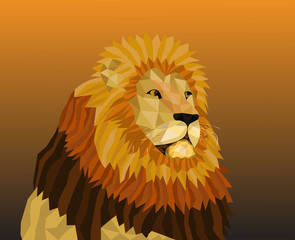 Low poly lion wallpaper