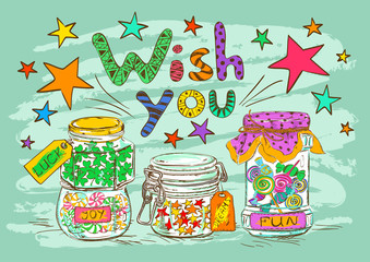 Birthday greeting card with jars and wishes