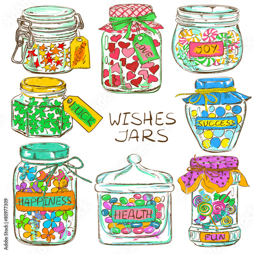 Set of colorful mason jars with greeting wishes - 80977309