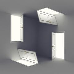Four open abstract doors - choice concept