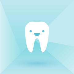 Happy tooth. Low poly background