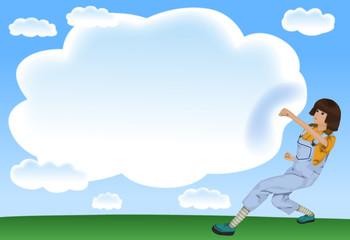 雲にパンチをする女性
