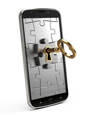 Golden key, puzzle and mobile phone