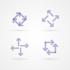 Set: purple arrow icons