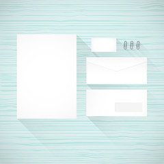 Branding identity template. Wooden background. Flat design