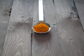 Turmeric in a metal spoon