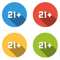 Collection of 4 isolated flat colorful buttons (icons) for 21+ s