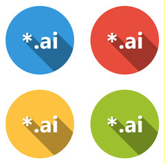 Collection of 4 isolated flat colorful buttons (icons) for ai ex