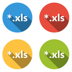 Collection of 4 isolated flat colorful buttons (icons) for xml e