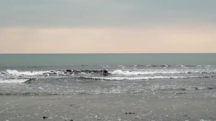 夕景の地平線と波