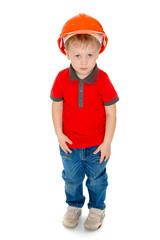 boy in the construction helmet.