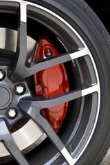 Red brake caliper