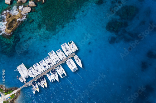 Amazing view to Yachts in harbor - Drone view. birds eye angle