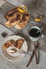 Dish with torrijas, typical spanish dessert in easter with woode