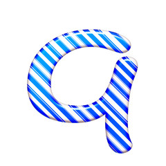 The letter Q of caramel color is blue