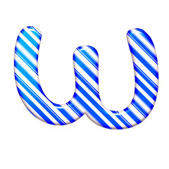 The letter W of caramel color is blue