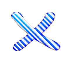 The letter X of caramel color is blue