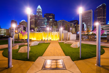 Charlotte North Carolina Park and Skyline