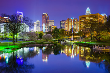 Charlotte, North Carolina Park Cityscape