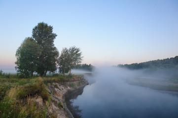 Morning fog looks like a bridge