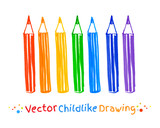 Childlike drawing of pencils. poster