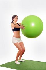 Pretty woman gym ball workout