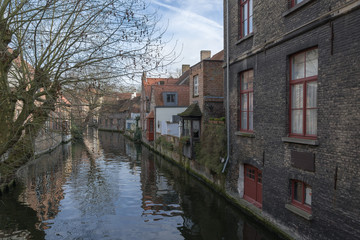 Houses on the water, Bruges, Belgium