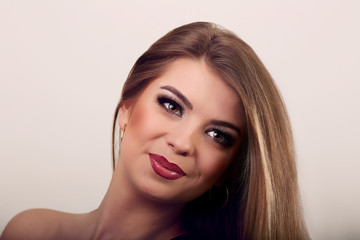 Happy beautiful young woman model with natural daily makeup. Lov