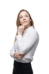 Young business lady is thinking about something. Isolated.