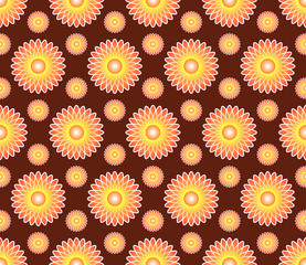 Vector abstract seamless pattern background with flowers