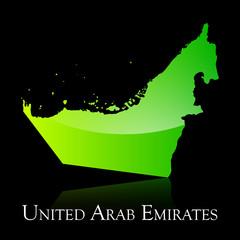 United Arab Emirates green shiny map