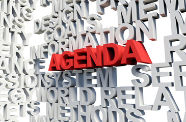 AGENDA Word in red, 3d illustration.