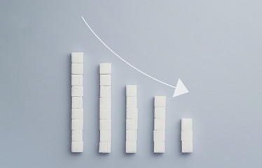 Negative graph chart made of sugar cubes