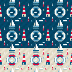Marine pattern with yacht