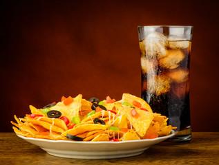 nachos and cola drink