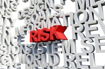 RISK Word in red, 3d illustration.